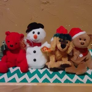 Set of 4 retired TY Christmas Beanie baby's